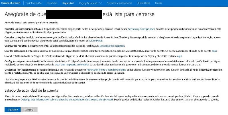 Cancelar una cuenta de Microsoft Permanentemente