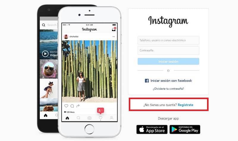 Crear una cuenta de Instagram desde una PC