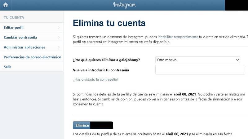 Eliminar una cuenta de Instagram de forma permanente