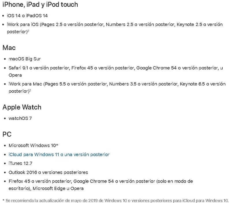 Requisitos mínimos para usar iCloud